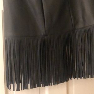 Beautiful leather fringe mini skirt